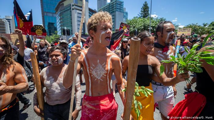 Indigenous Australians demonstrating in Brisbane