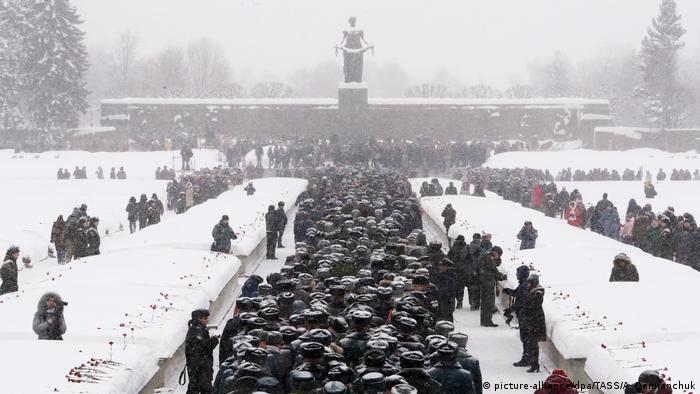 Траурная церемония на Пискаревском мемориальном кладбище 27 января 2019 года