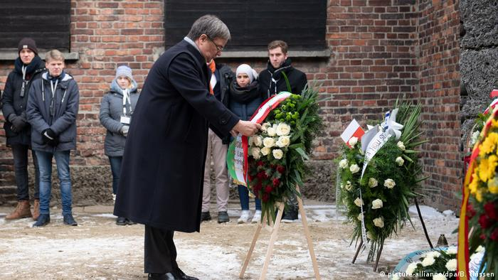 Armin Laschet at a ceremony in Auschwitz