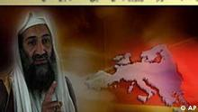 """An image made from video with an audio-message, provided by IntelCenter on Friday, Sept 25. 2009, al-Qaeda's as-Sahab released a 4'47 video featuring an audio statement from Osama bin Laden entitled, A Message from Sheikh Osama bin Laden to the People of Europe. Osama bin Laden demanded that European countries pull their troops out of Afganistan in a new audiotape Friday, warning of retaliation against them for their alliance with the United States in the war. The message is in Arabic and was released in both an English and German subtitled version. On-screen text reads, """"Say to those who disbelieve: if they desist, that which has passed will be forgiven them; but if they return [to their misdeeds], then the example of previous peoples has already passed before them. Bottom: 'To European Nations:'. (AP Photo/IntelCenter) **"""
