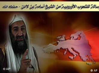 Osama bin Laden is seen next to a map of Europe