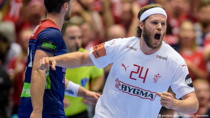 Denmark's Mikkel Hansen celebrates during the Handball World Championship final in Denmark