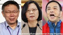 Kombobild Ko Wen-je, Tsai Ing-wen und Eric Chu