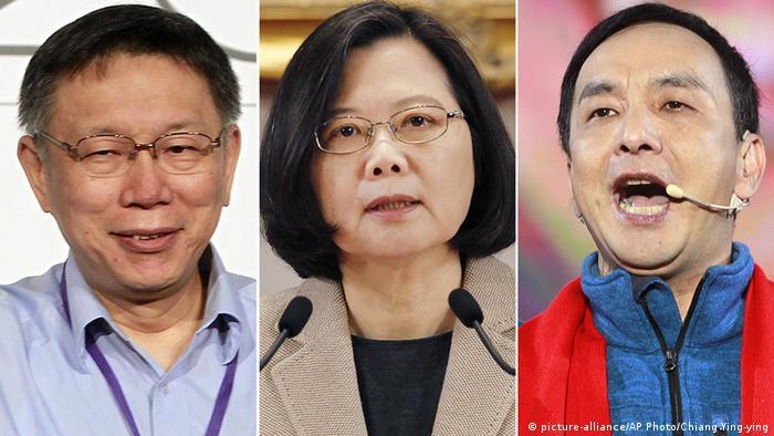 Kombobild Ko Wen-je, Tsai Ing-wen und Eric Chu (picture-alliance/AP Photo/Chiang Ying-ying)