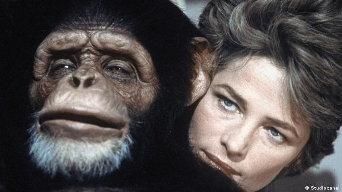 Charlotte Rampling with a chimpanzee in a film still from Max mon amour (Studiocanal)