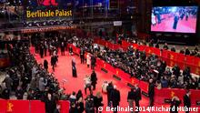 Bird's eye view of the Berlinale red carpet with crowded press area