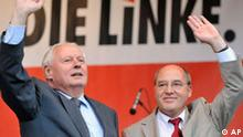 Gregor Gysi der Fraktionsvorsitzende der Partei Die Linke und Oskar Lafontaine Parteivorsitzende Bundestagswahl