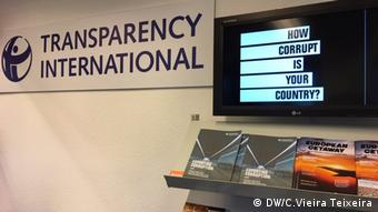 A screen at TI's international office shows the words how corrupt is your country