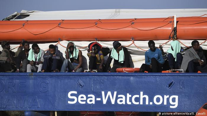 Sea Watch III carrying migrants off the coast of Italy
