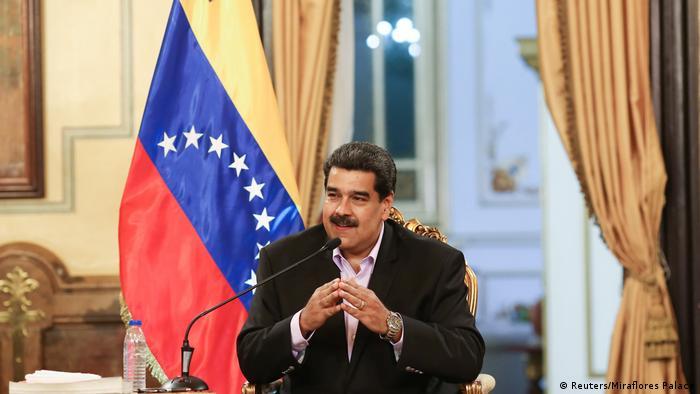 Venezuela's President Nicolas Maduro speaking at a meeting