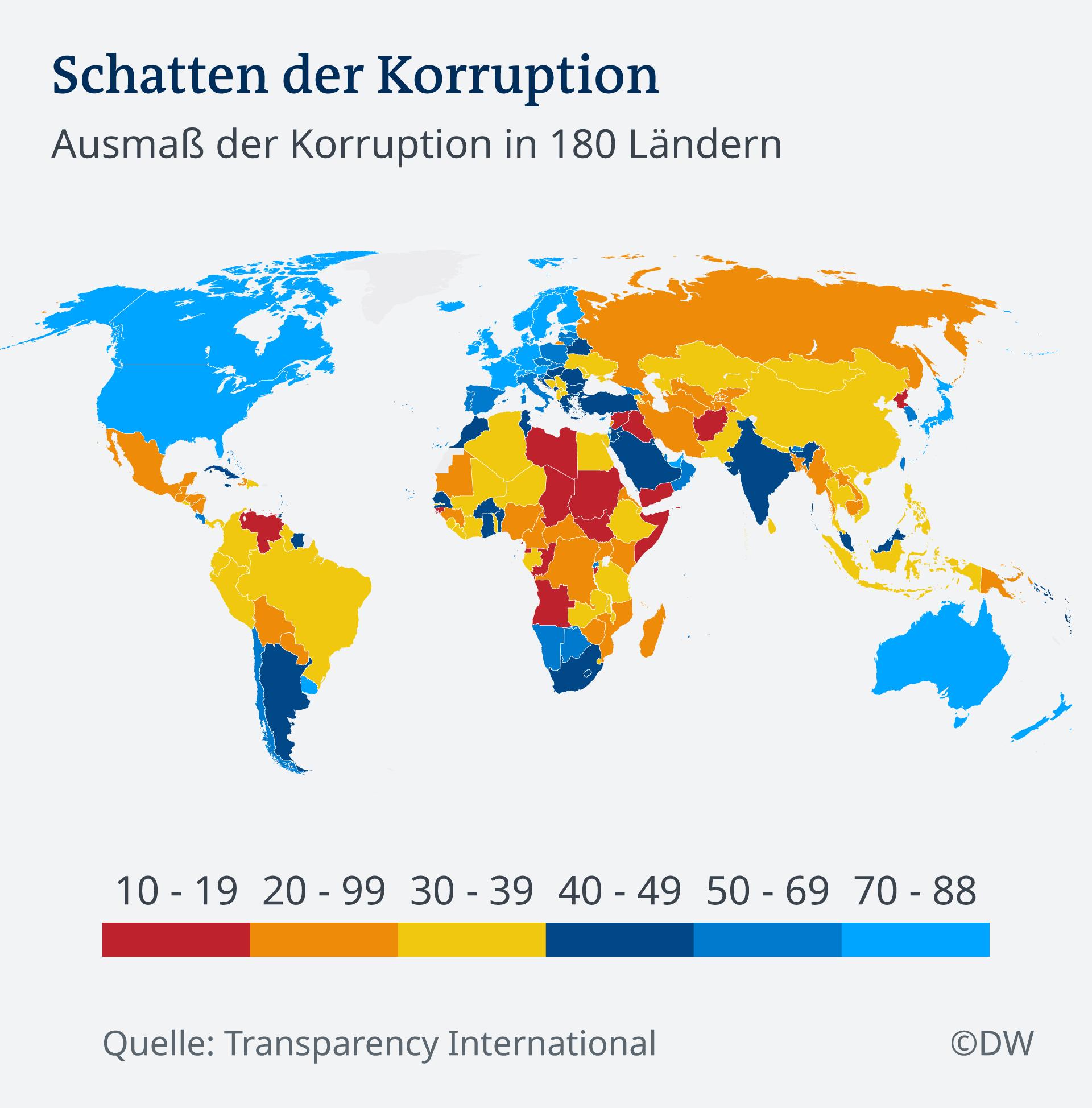 Infografik Karte Weltkarte der Korruption DE