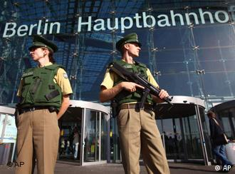 Police officers stand in front of Berlin's main train station