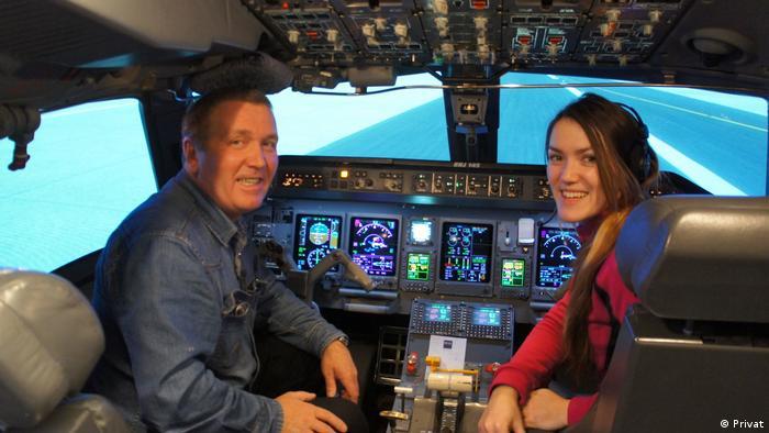 Татьяна Дрожжова со своим отцом, пилотом-инструктором