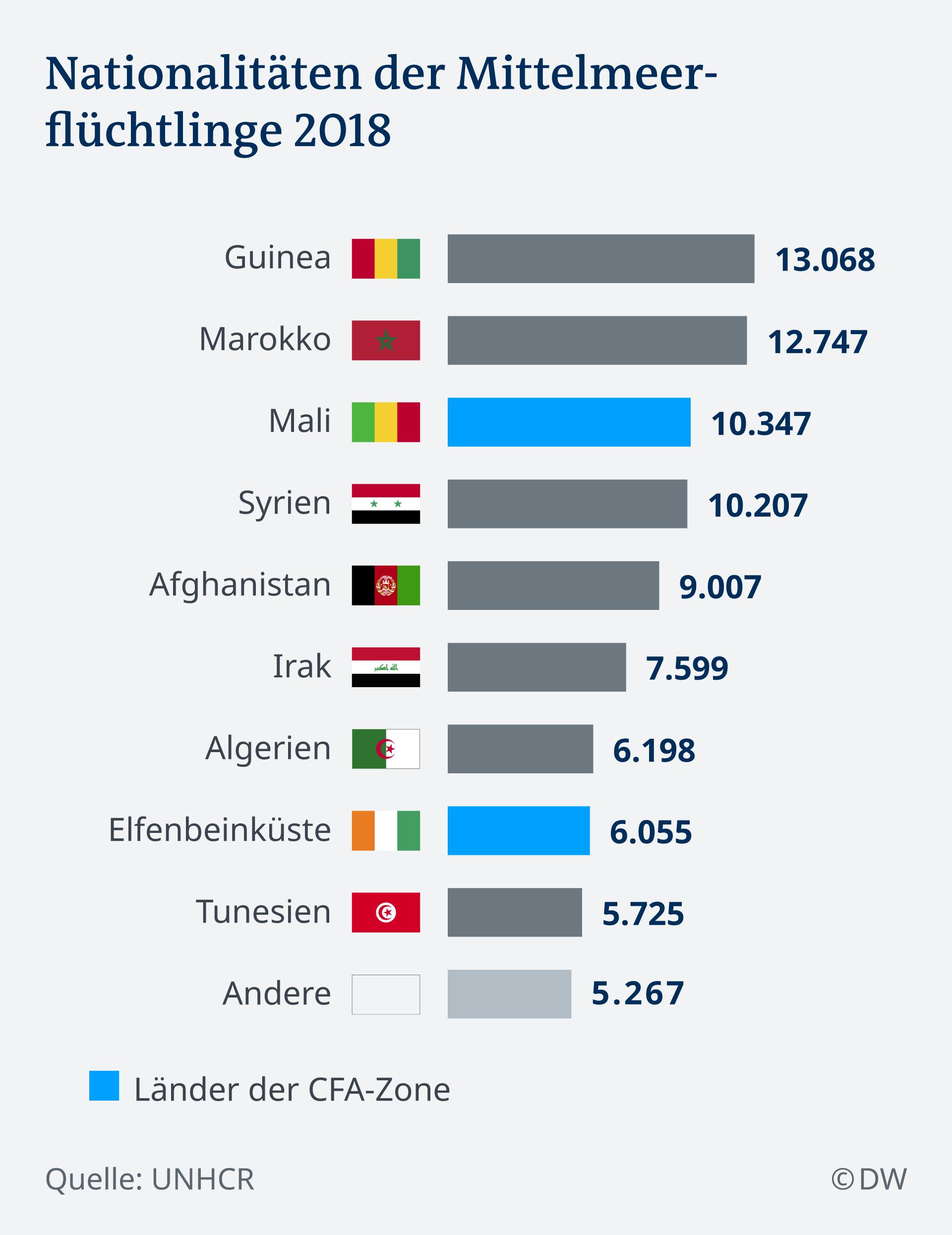 Infografik Nationaltität der Flüchtlinge über die Mittelmeerroute DE