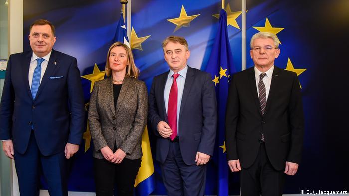 Brüssel Europäische Kommission Treffen Mogherini, Dodik, Komsic und Dzaferovic