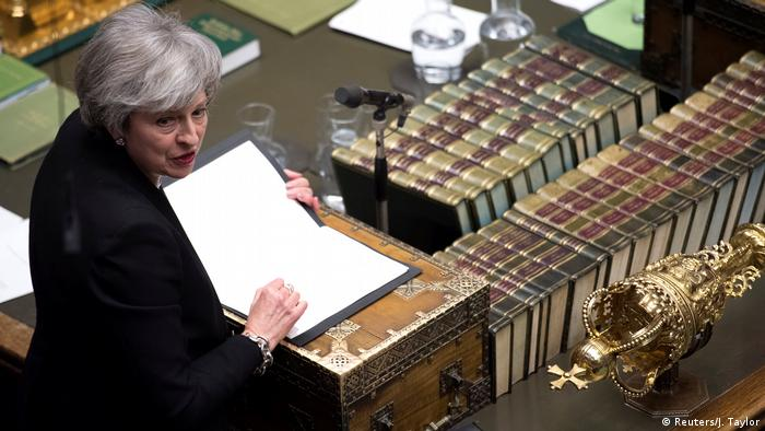 Britain's Prime Minister Theresa May speaks during a debate on her Brexit 'plan B' in Parliament