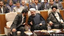Iran Ezatollah Zarghami, Ex-Chef des staatlichen Rundfunks (links) und Hassan Rohani