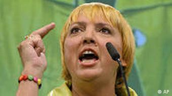 Green Party Leader Claudia Roth of the Greens, Buendnis 90/Die Gruenen is seen after the German general elections in Berlin, Sunday Sept. 27, 2009.(AP Photo/Eckehard Schulz)
