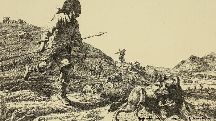 A man hunting a wolf illustration by Adam Bartsch (1757–1821) (Graphische Sammlung, Wallraf-Richartz-Museum)
