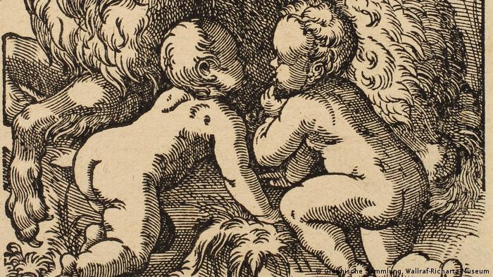 Grafik mit zwei nackten Babies von Jost Amman (1539 – 1591) (Graphische Sammlung, Wallraf-Richartz-Museum)