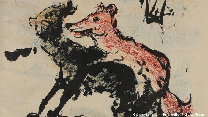 Illustration by Lovis Corinth (1858 – 1925) of a fox and wolf (Graphische Sammlung, Wallraf-Richartz-Museum)