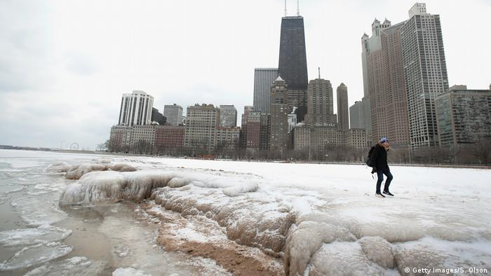 Lake Michigan in Chicago under snow and ice