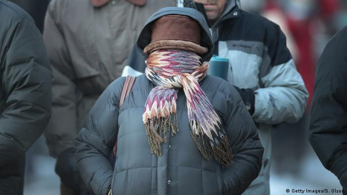 People were advised to avoid breathing in the freezing air