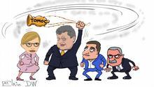 DW-Karikatur von Sergey Elkin - Ukraine Poroschenko & Präsidentschaftskandidaten