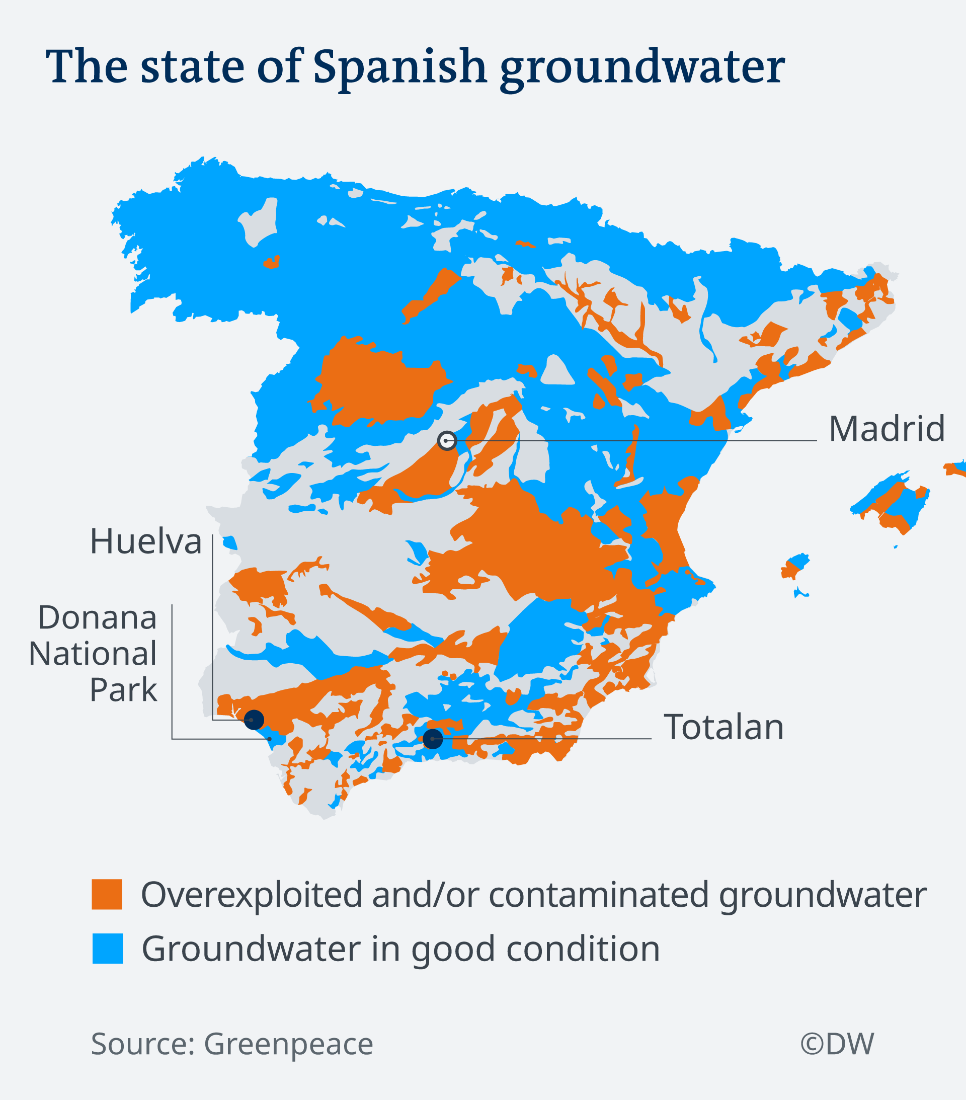 A map of Spain's groundwater, showing overexploited areas and those still in good condition