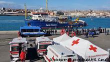 Italien Rettungsschiff Sea-Watch 3 in Hafen von Catania eingelaufen
