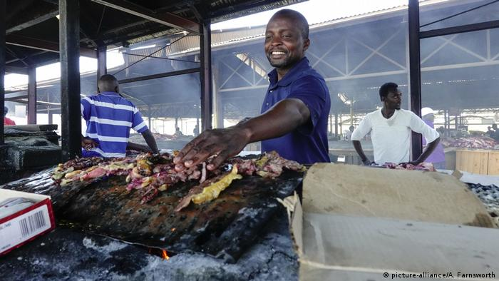 Grilled meat is sold at a market in Windhuk, Namibia