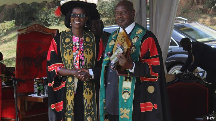 President Yoweri Museveni at the 2018 graduation ceremony (DW)