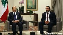 Libanon Präsident Aoun mit zukünftigem Primierminister Saad al-Hariri
