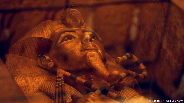 The sarcophagus of Tutankhamun in the tomb