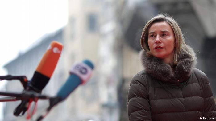 Die EU-Außenbeauftragte Mogherini in Bucharest (Reuters)