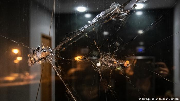Smashed window pane at Brazil's embassy in Berlin