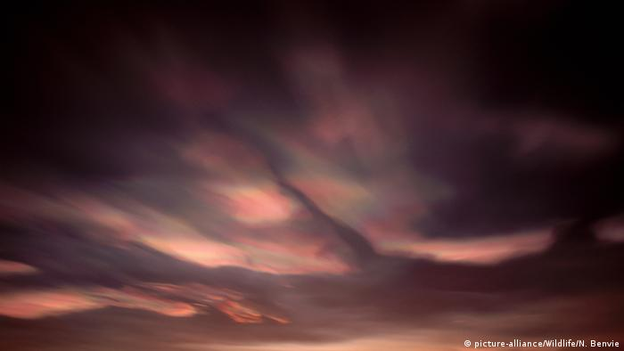 Nacreous clouds. Photo credit: picture-alliance/Wildlife/N. Benvie.