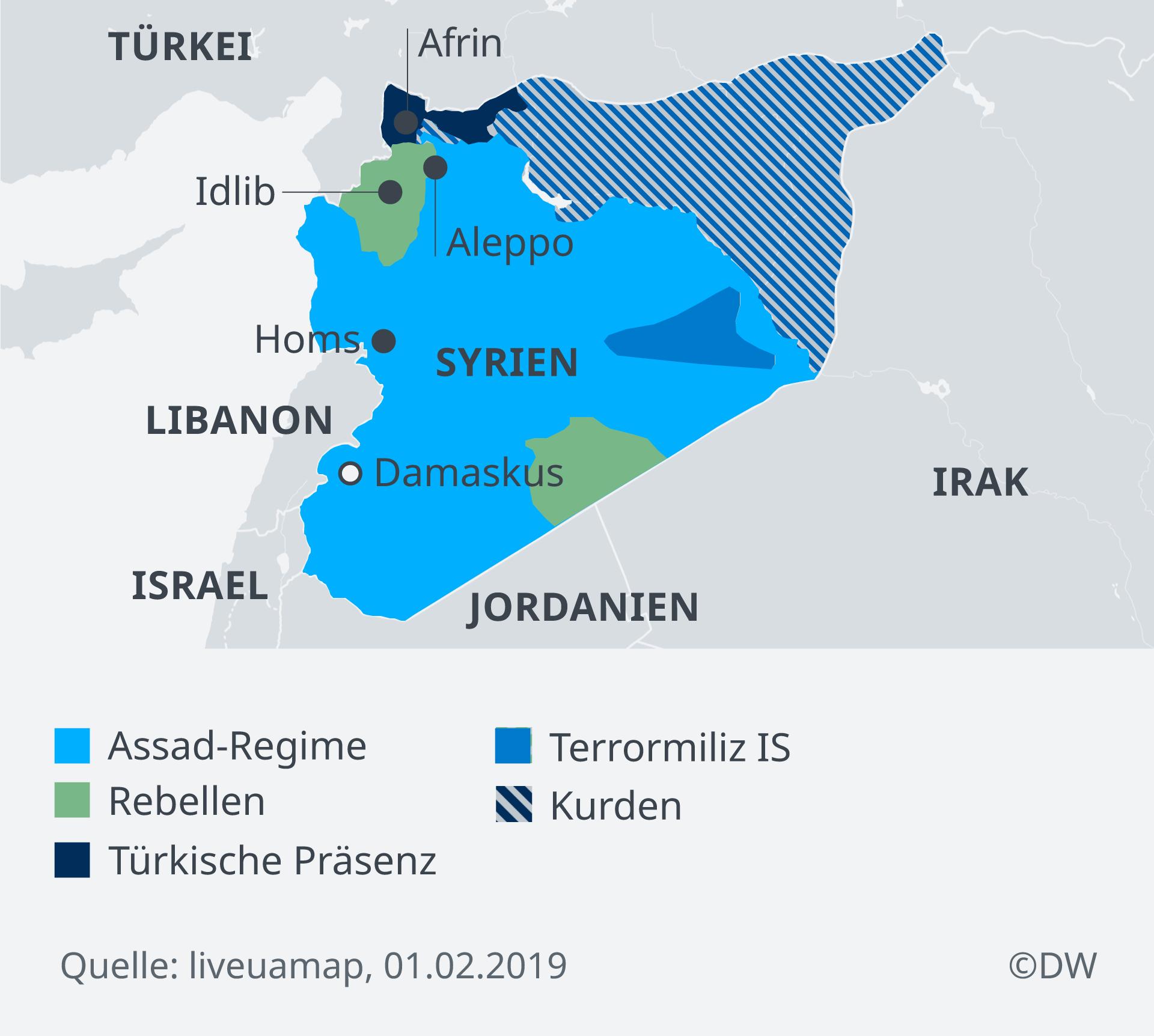 Infografik Karte Syrien Lage Gruppen DE