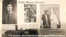 This image shows Virginia Gov. Ralph Northam's page in his 1984 Eastern Virginia Medical School yearbook. The page shows a picture, at right, of a person in blackface and another wearing a Ku Klux Klan hood next to different pictures of the governor. It's unclear who the people in the picture are, but the rest of the page is filled with pictures of Northam and lists his undergraduate alma mater and other information about him. (Eastern Virginia Medical School via AP) |