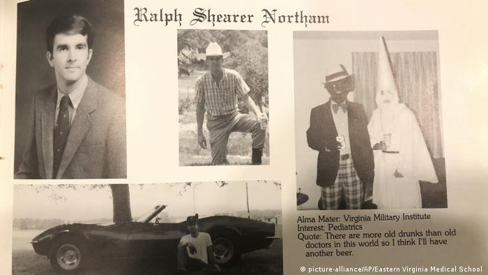 Ralph Northam and a photo of two men, one in blackfae and another in KKK regalia