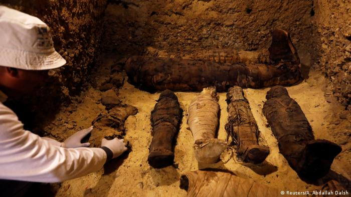 A row of ancient mummies