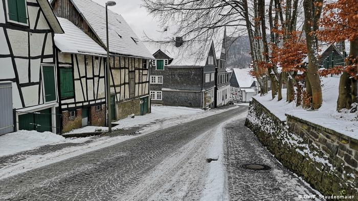 The view of a street in Freudenberg, Germany