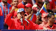 02.02.2019 Venezuela's President Nicolas Maduro gestures as he speaks during a rally in support of the government and to commemorate the 20th anniversary of the arrival to the presidency of the late President Hugo Chavez in Caracas, Venezuela February 2, 2019. REUTERS/Manaure Quintero NO RESALES. NO ARCHIVES.