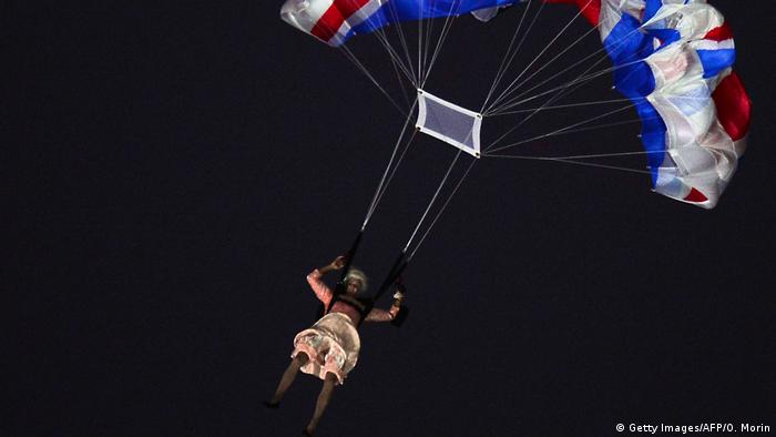 A stunt double of the Queen is parachuted into the London Olympics stadium