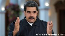 29.01.2019 *** Venezuela's President Nicolas Maduro speaks during a broadcast at Miraflores Palace in Caracas, Venezuela January 29, 2019. Picture taken January 29, 2019. Miraflores Palace/Handout via REUTERS ATTENTION EDITORS - THIS PICTURE WAS PROVIDED BY A THIRD PARTY.