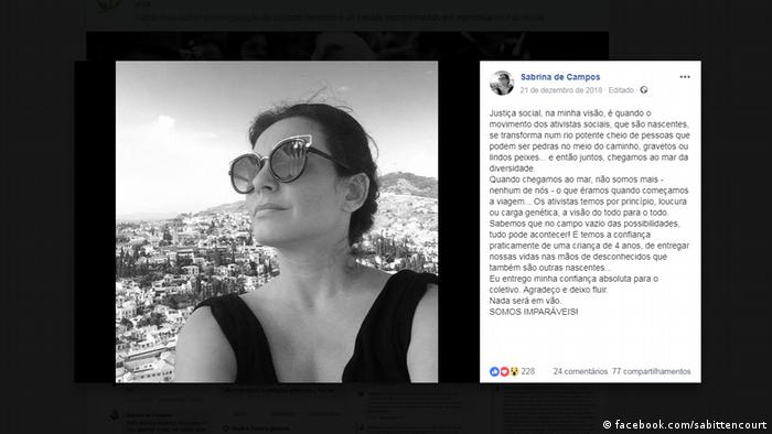 Página de Sabrina Bittencourt no Facebook
