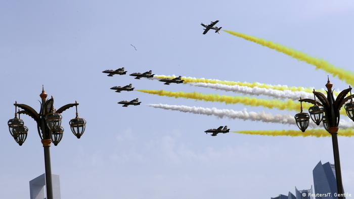 Jets fly over the presidential palace in Abu Dhabi