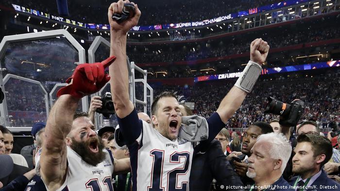 New England Patriots quarterback Tom Brady celebrates winning Super Bowl LIII