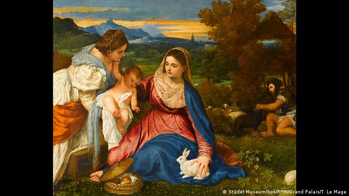 One of Titian's paintings depicting the Madonna with the Christ-child in a brightly rendered landscape (Städel Museum/bpk/RMN/Grand Palais/T. Le Mage)