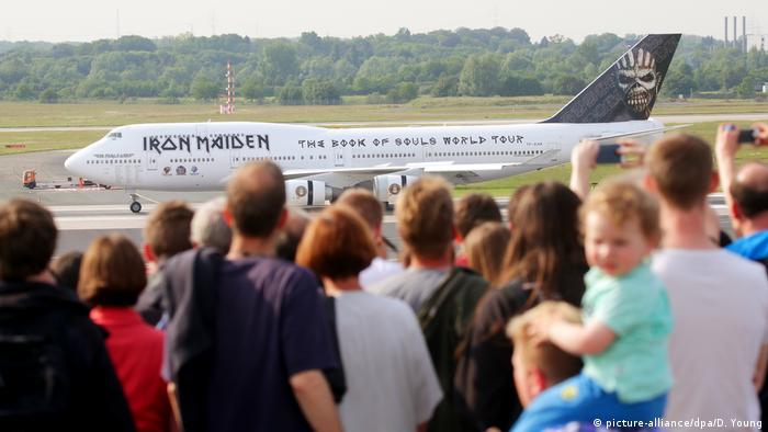 The British heavy metal band Iron Maiden lands their chartered Boeing 747 in Dusseldorf